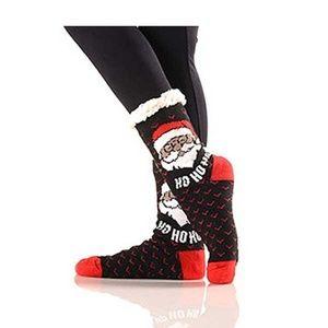 Tigerstars Ho Ho Santa Sherpa Lined Slipper Socks